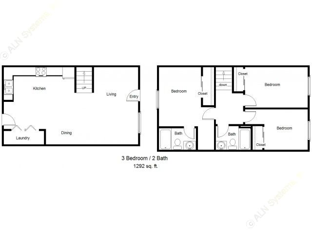1,292 sq. ft. 50% floor plan
