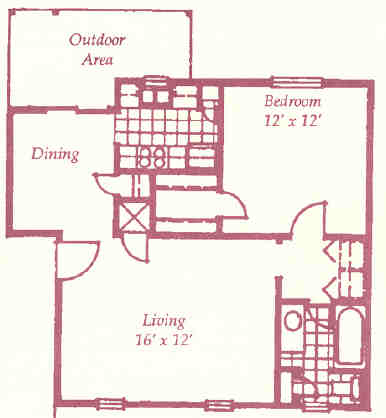 497 sq. ft. A floor plan