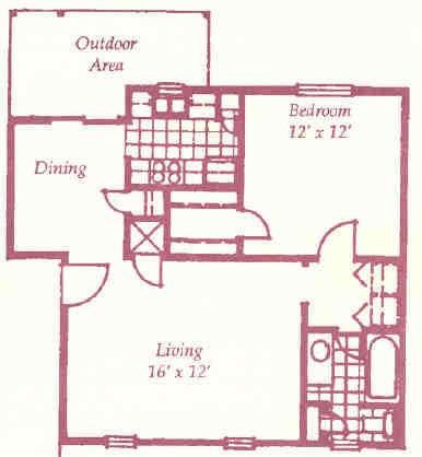 497 sq. ft. A floor plan