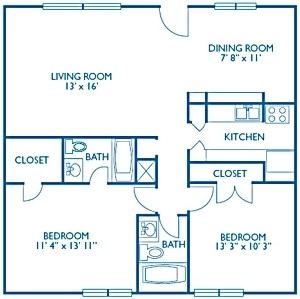 1,024 sq. ft. Coventry floor plan