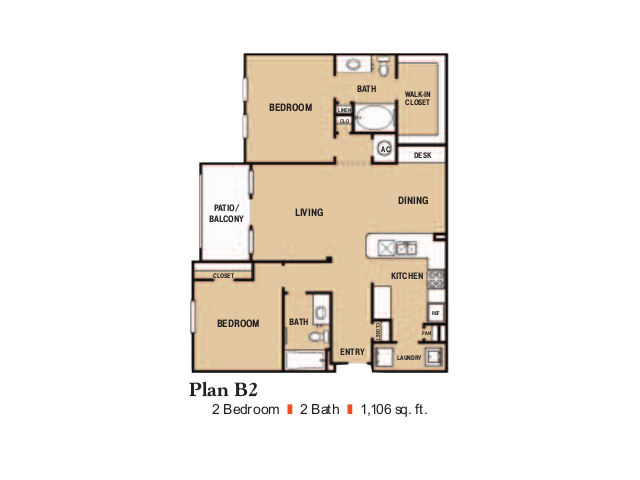 1,106 sq. ft. B2 floor plan