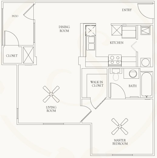 640 sq. ft. to 684 sq. ft. A4-A6 floor plan