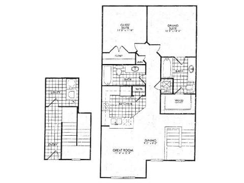1,027 sq. ft. 60% floor plan