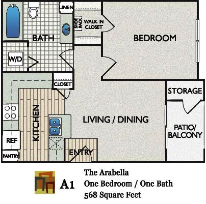 568 sq. ft. Arabella floor plan