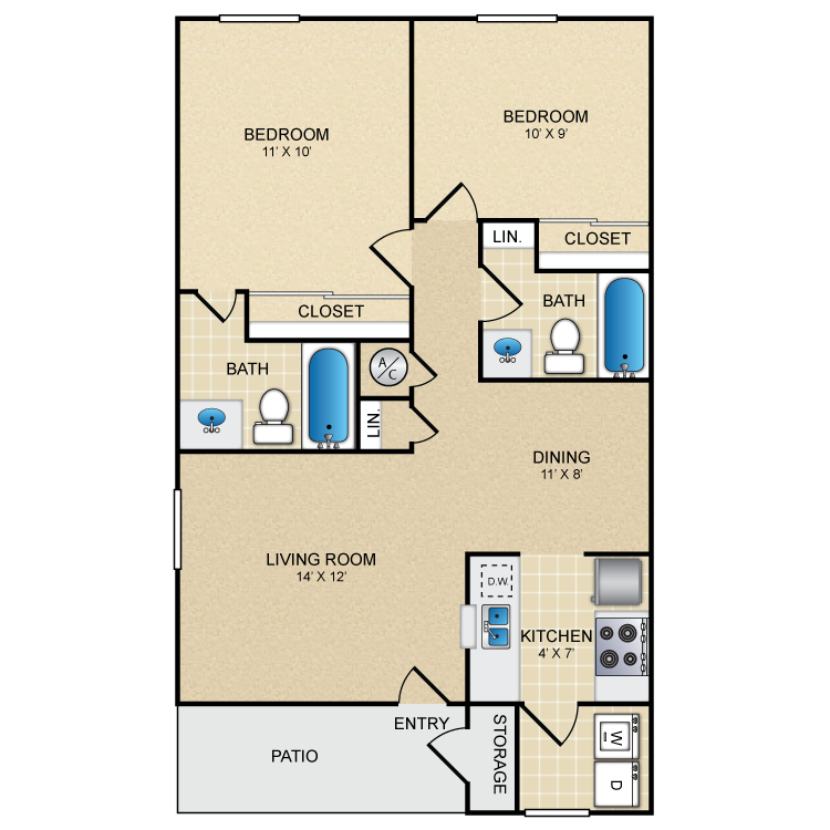 865 sq. ft. La Cascada floor plan