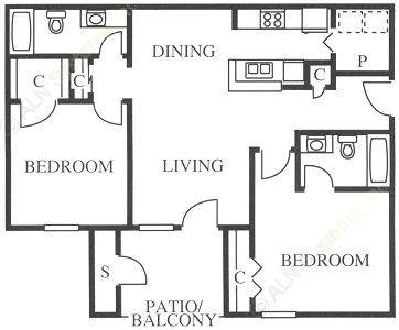 886 sq. ft. B3 floor plan