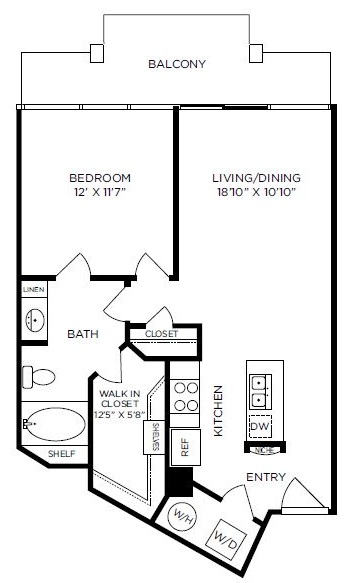 749 sq. ft. to 820 sq. ft. St James floor plan