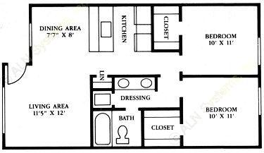 712 sq. ft. B1 floor plan