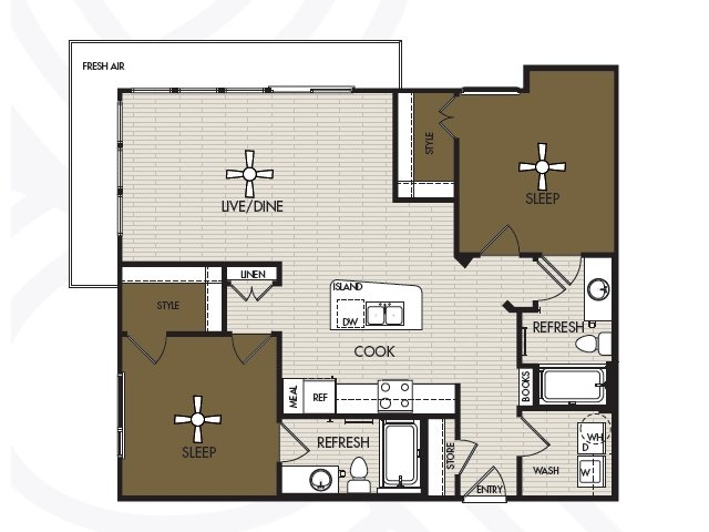1,108 sq. ft. B1a floor plan