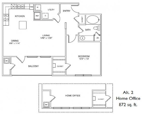 872 sq. ft. A3H floor plan