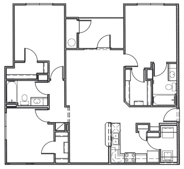 1,262 sq. ft. Guadalupe floor plan