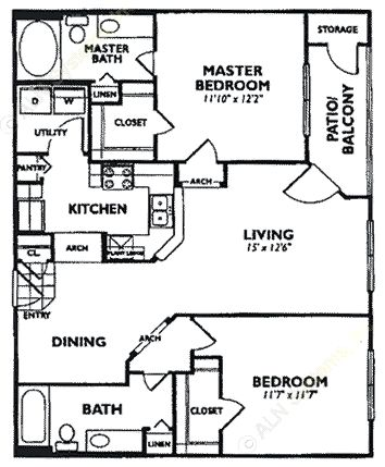 1,003 sq. ft. B4 floor plan