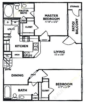 1,003 sq. ft. B4 floor plan
