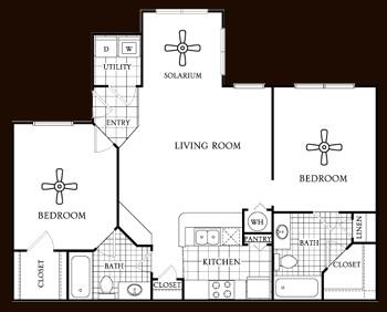 1,000 sq. ft. Cedar floor plan