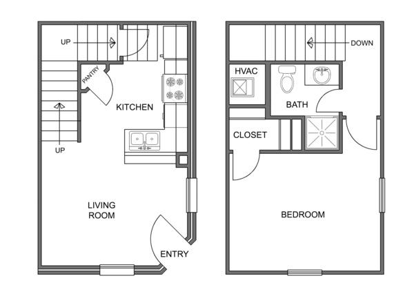 600 sq. ft. Aspen floor plan