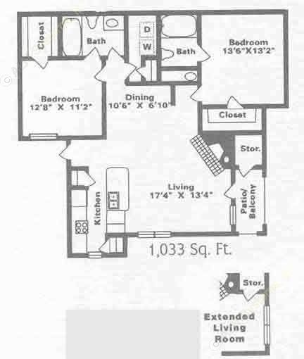 1,078 sq. ft. B6 floor plan