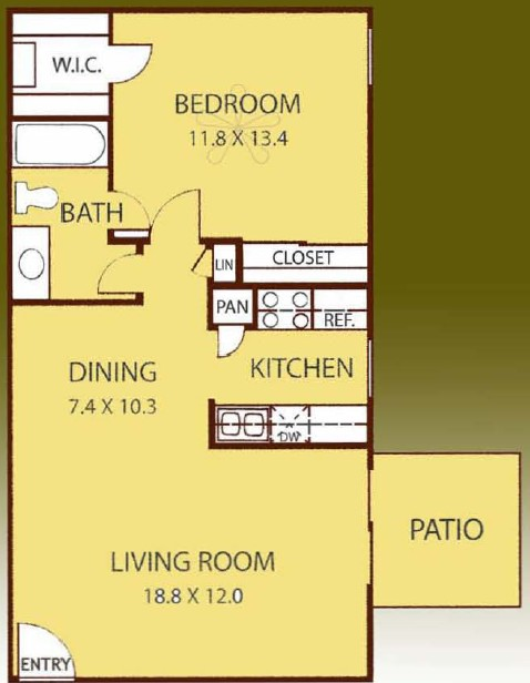 700 sq. ft. ELM floor plan