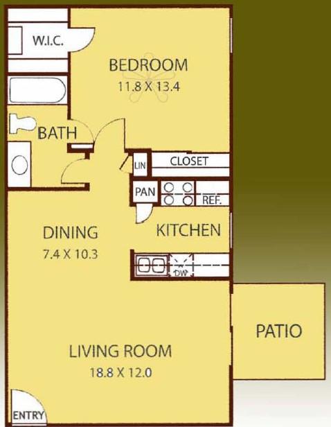 700 sq. ft. ELM floor plan