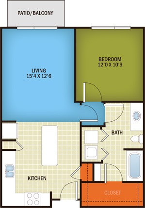 715 sq. ft. Rosedale - A1A floor plan