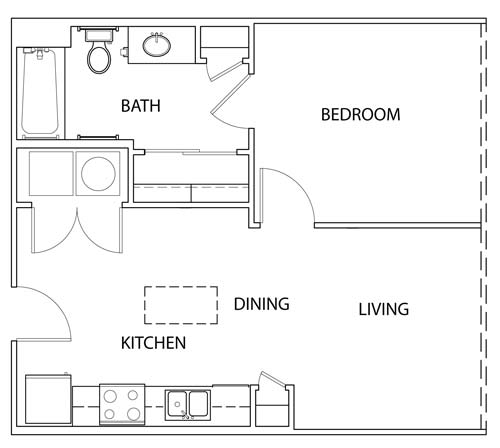 604 sq. ft. A floor plan