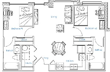 732 sq. ft. 1x2 w/Study floor plan