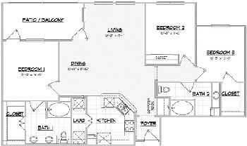 1,352 sq. ft. BUNKHOUSE floor plan