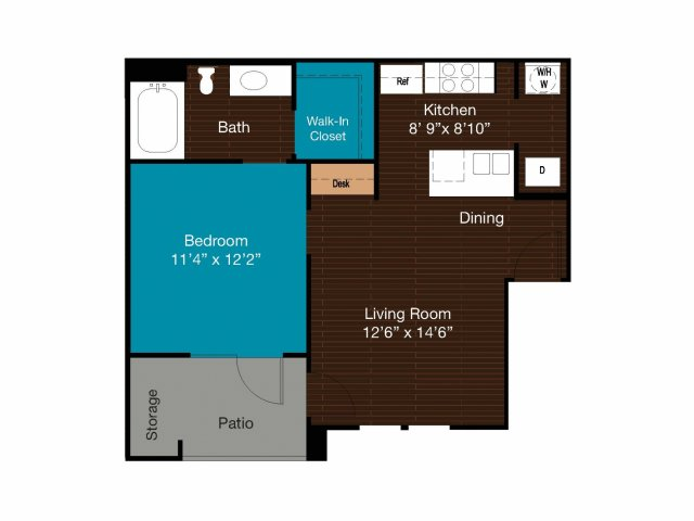 597 sq. ft. A1 floor plan