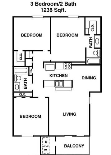 1,236 sq. ft. J floor plan