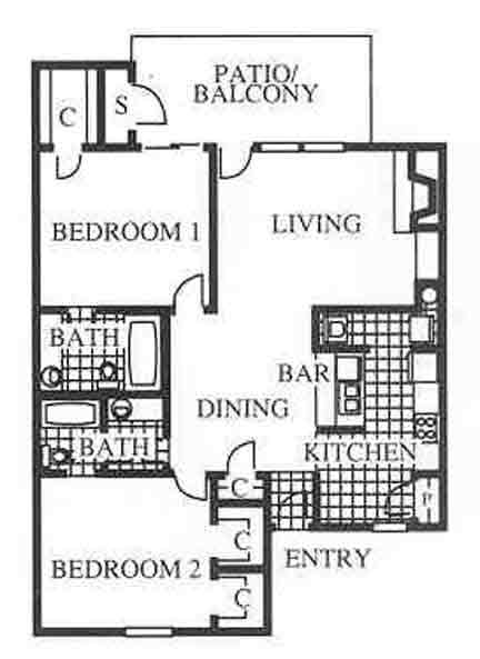 1,072 sq. ft. B2 floor plan