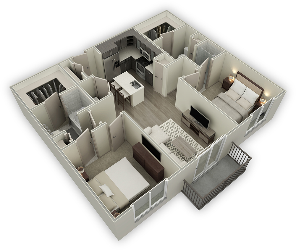 1,116 sq. ft. B1-HC floor plan