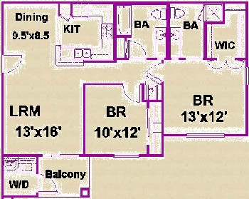 968 sq. ft. F/60 floor plan