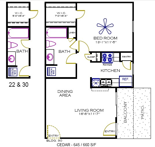 645 sq. ft. to 660 sq. ft. Cedar floor plan