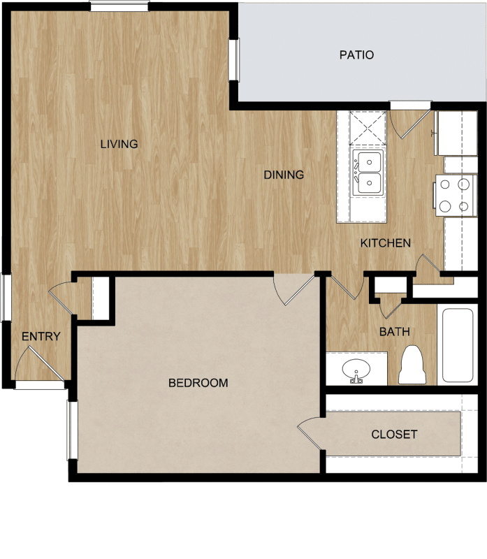 727 sq. ft. floor plan