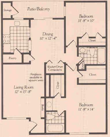 1,060 sq. ft. floor plan