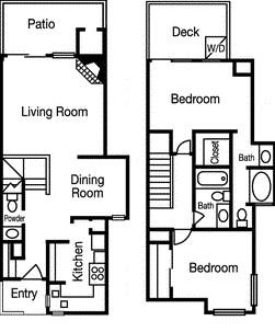 1,150 sq. ft. Overlook floor plan