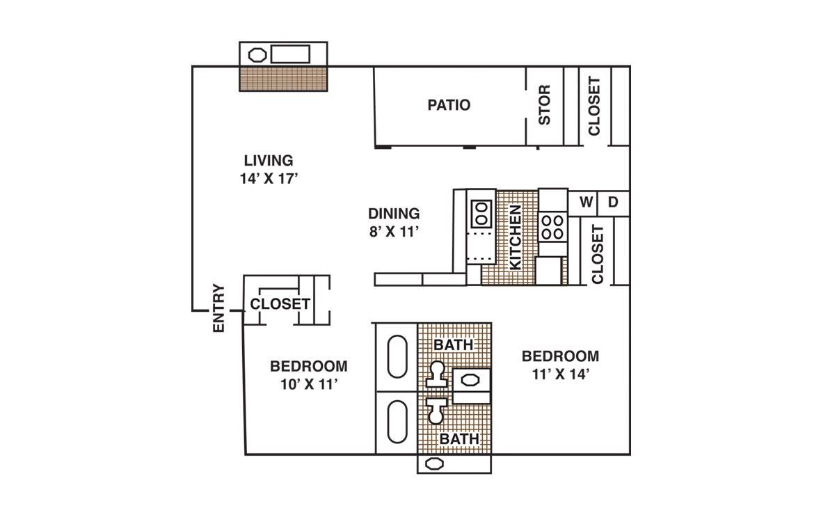 1,081 sq. ft. B3 floor plan