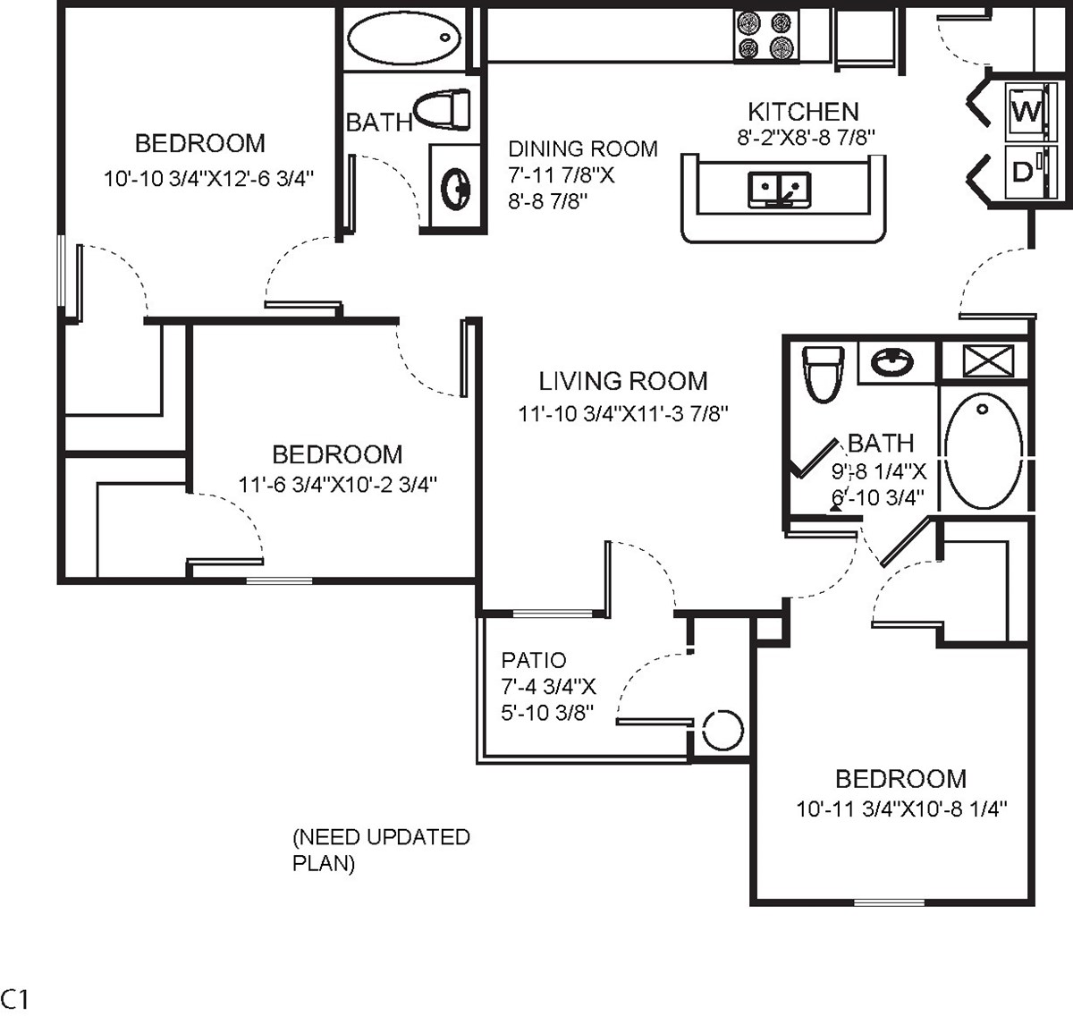 1,129 sq. ft. C1 floor plan