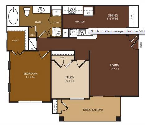 911 sq. ft. Hilton floor plan