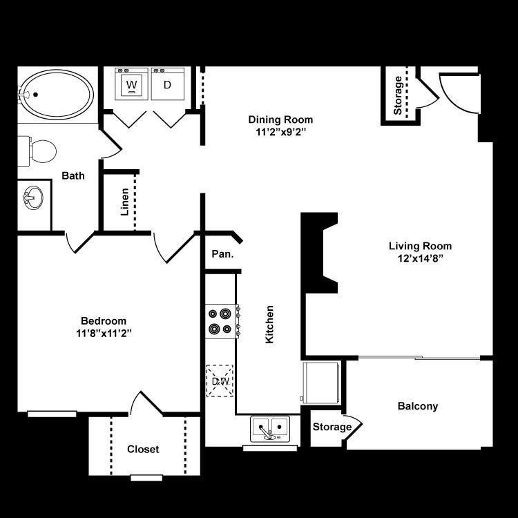 707 sq. ft. A1 floor plan