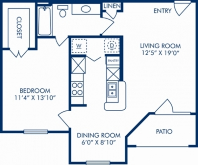 738 sq. ft. G floor plan