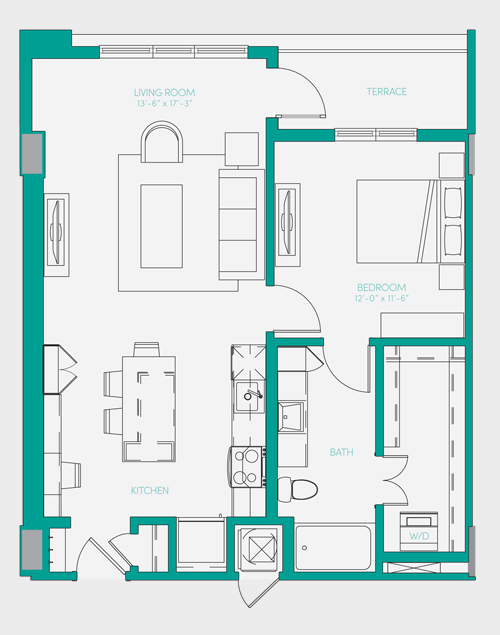 796 sq. ft. A2.1 floor plan