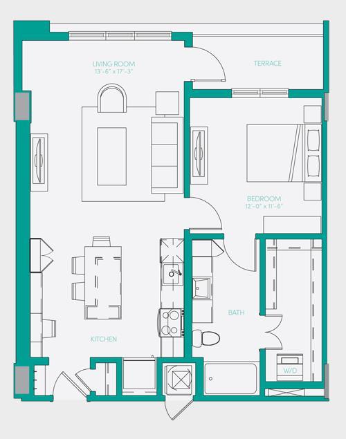 796 sq. ft. A2.1 floor plan