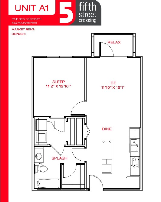 750 sq. ft. A1 L/W floor plan