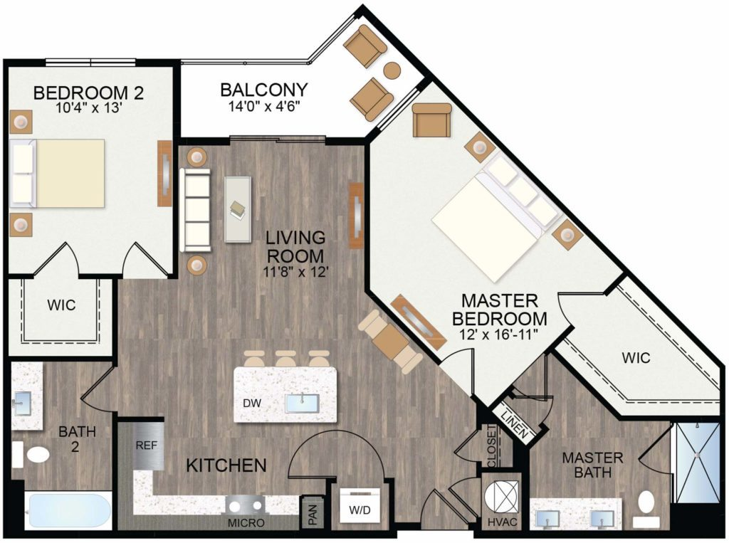 1,180 sq. ft. Wild Indigo floor plan