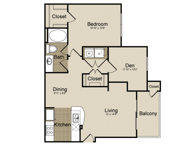 870 sq. ft. Lyra   (A6) floor plan