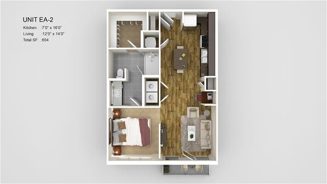 654 sq. ft. EA2 floor plan