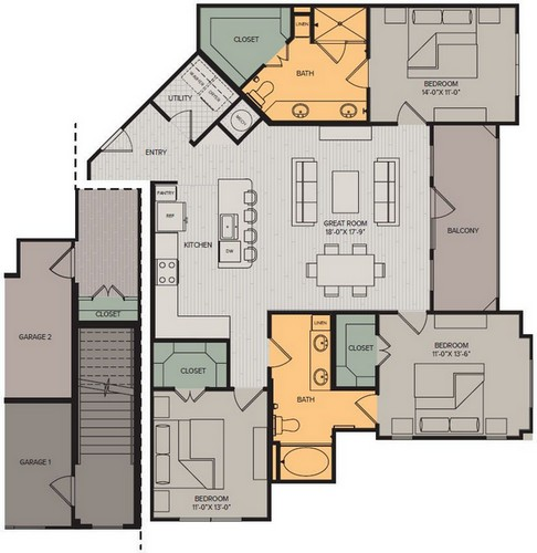 1,489 sq. ft. Panorama II floor plan
