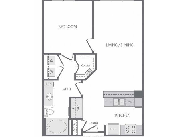 690 sq. ft. to 739 sq. ft. C floor plan