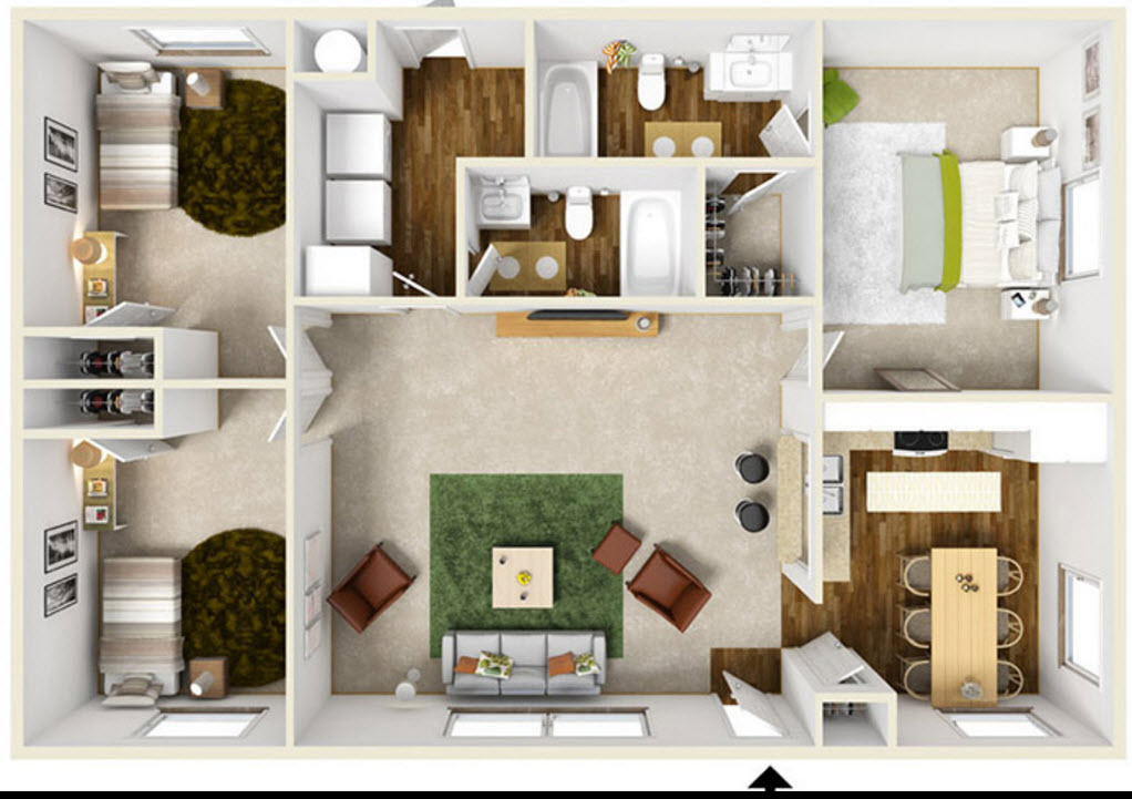 1,080 sq. ft. floor plan