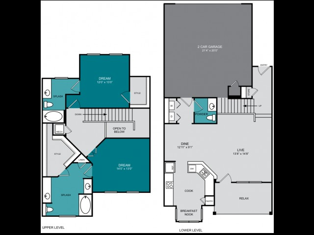 1,554 sq. ft. B2 TH CARMEL floor plan